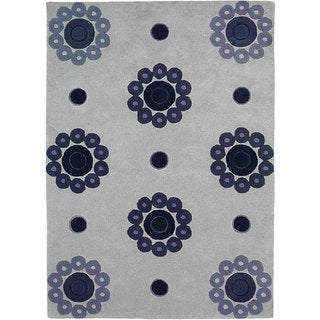 M.A.Trading Hand-tufted Como Blue Wool Rug (5'6 x 7'10)