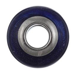 Sterling Essentials Sterling Silver Aventurina Blue Murano Glass Bead