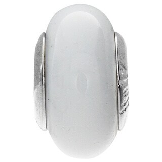 Sterling Silver Bianca Murano Glass Bead