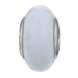 Sterling Essentials Sterling Silver Bianca Murano Glass Bead