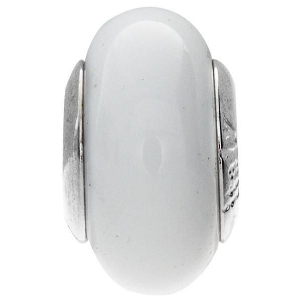 Sterling Silver Bianca Murano Glass Bead