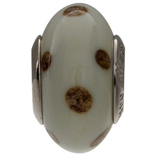 Sterling Silver Dots Murano Glass Bead