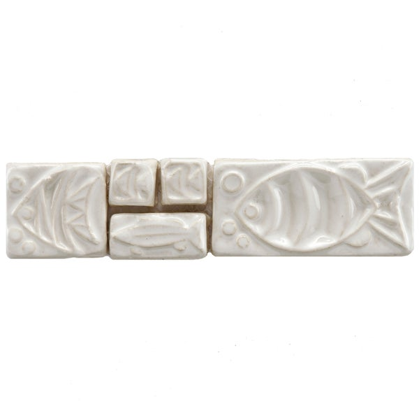 SomerTile 2x8-in Handmade Cobble Aquatica Bianco Border Mosaic Tile (Pack of 6)
