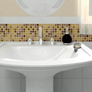 SomerTile 12x12-inch Cuivre Amber Glass Mosaic Wall Tile (13 tiles/13.27 sqft.)