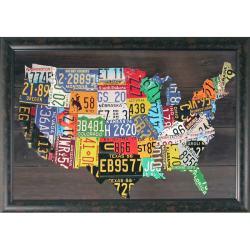 Foster, 'USA Map' Hand-embellished Framed Wall Art