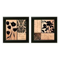 Gillian Fullard 'Noir et Creme' Framed Wall Art (Set of 2)