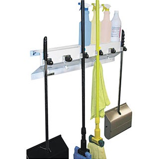 Ex-Cell Glossy-white Metal Mop and Broom Holder with Six Hooks