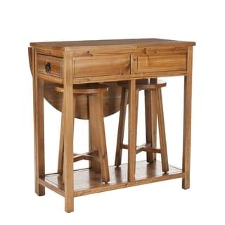Safavieh Lincoln Oak Finish Bar and Stools Set