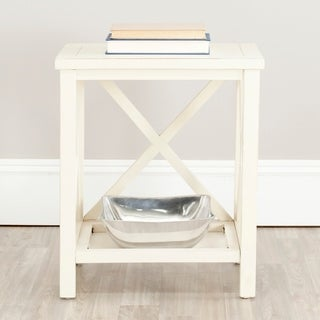 "Safavieh Otley White Cross Back End Table - 18.1"" x 13.4"" x 21.5"""
