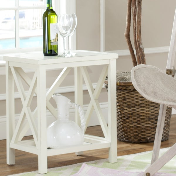 Safavieh Otley White Cross Back End Table