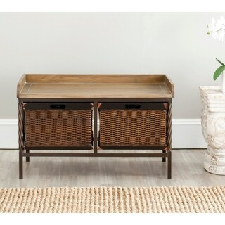 Safavieh Sutton Antique Pewter/ Light Ash Storage Bench