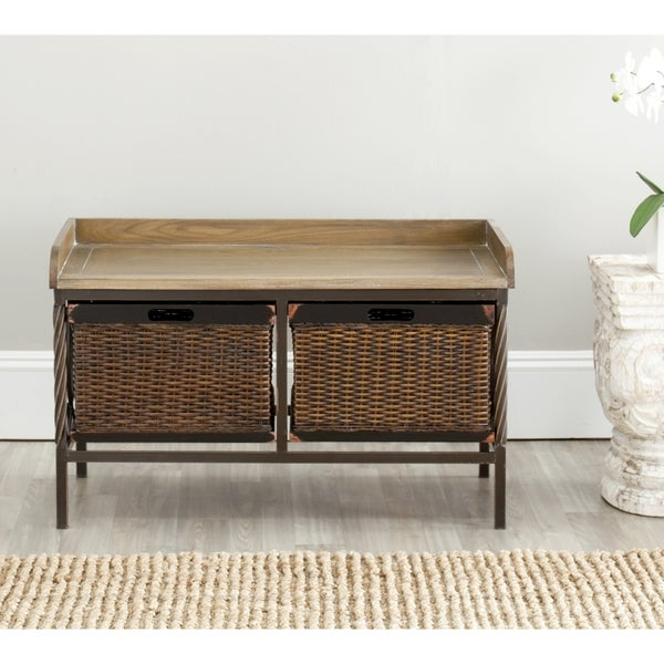 Safavieh Sutton Antique Pewter/ Light Ash Storage Bench