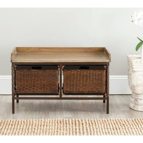 """Safavieh Sutton Antique Pewter/ Light Ash Storage Bench - 33"""" x 15.7"""" x 20"""""""