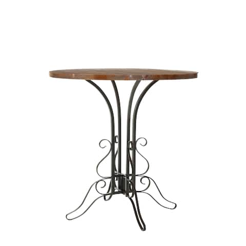 Safavieh Ilkeston Black Iron Walnut Finish Accent Table - 0