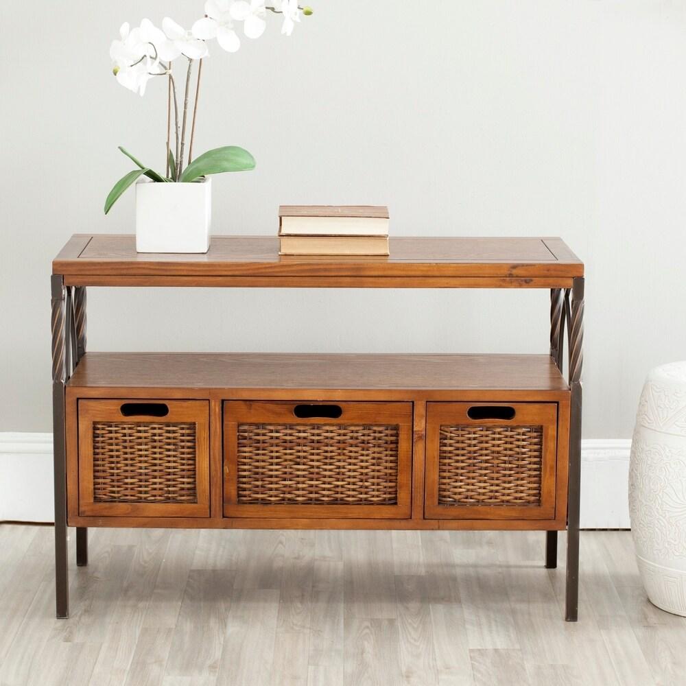 Safavieh Darwen Antique Pewter Dark Walnut Finish Console Table (36