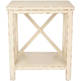 "Safavieh Bridgend Distressed Ivory End Table - 18.1"" x 13.5"" x 21.5"""