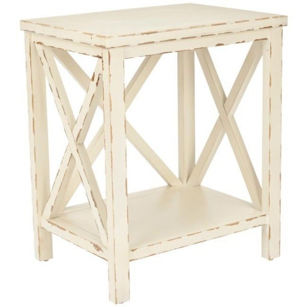 Shop Safavieh Bridgend Distressed Ivory End Table Free Shipping