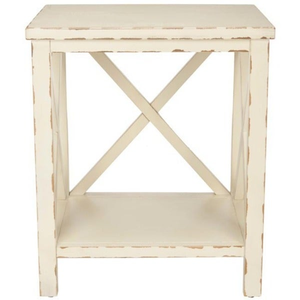 Safavieh Bridgend Distressed Ivory End Table   Free Shipping Today    Overstock.com   13340725