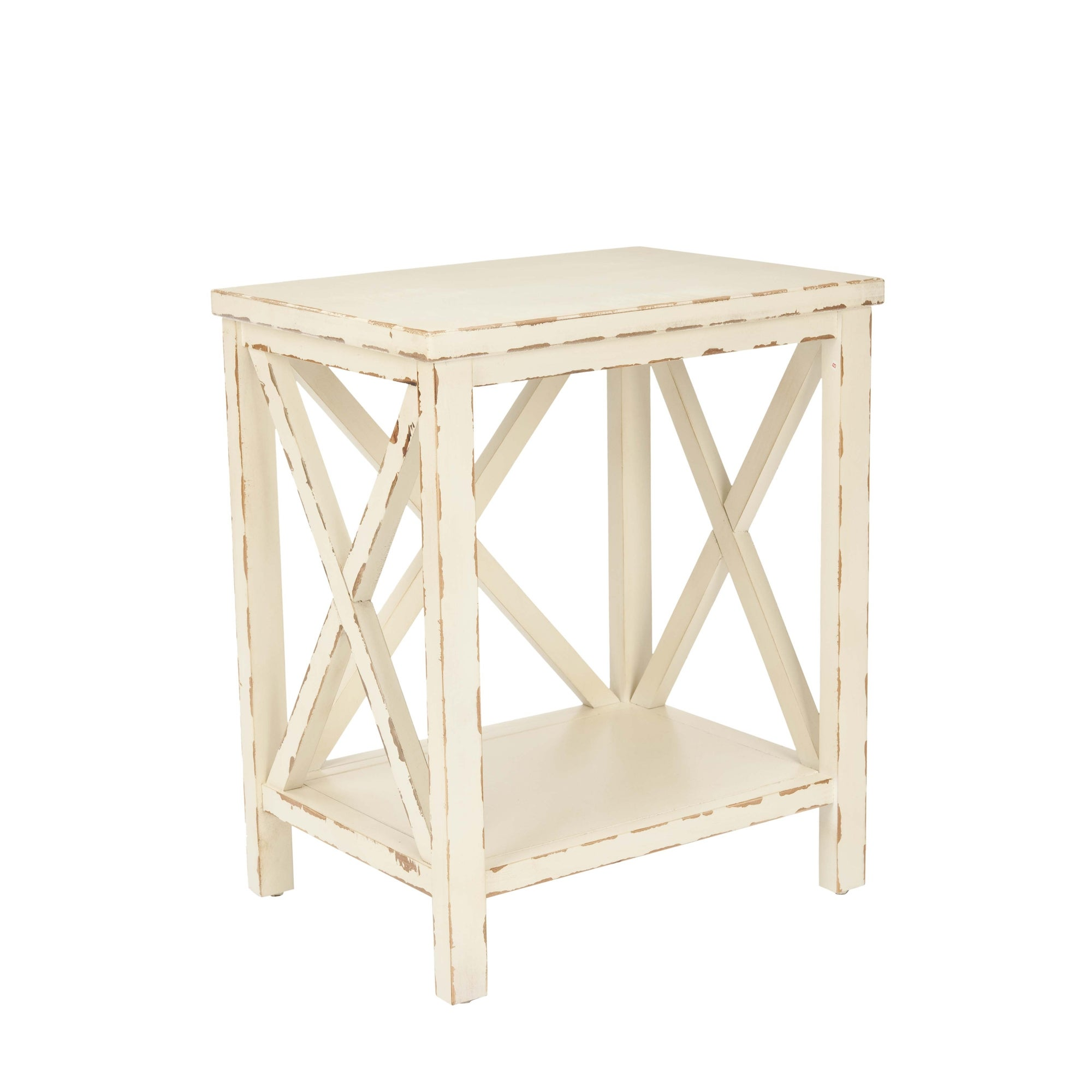 Awe Inspiring Safavieh Bridgend Distressed Ivory End Table Caraccident5 Cool Chair Designs And Ideas Caraccident5Info
