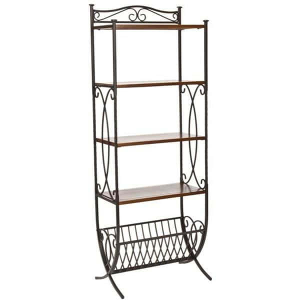 Safavieh Hessle Antique Pewter/ Dark Walnut Etagere