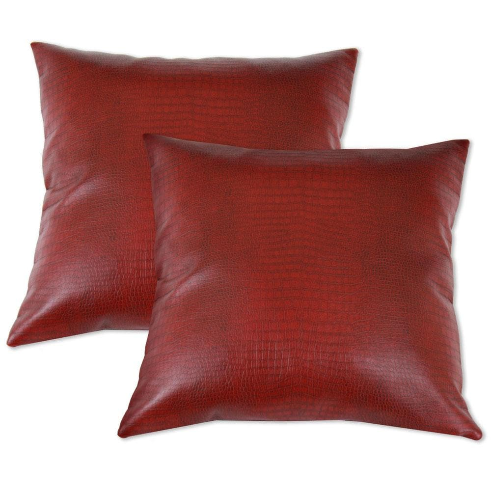 red faux leather accent pillows  set of 2