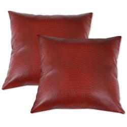 Red Faux Leather Accent Pillows (Set of 2)