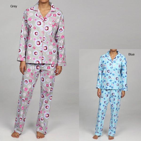 Leisureland Women's Space Monkey Flannel Pajamas Set