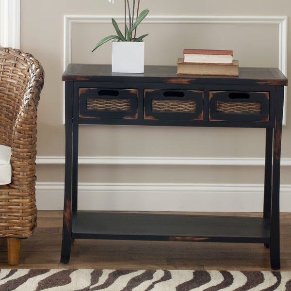 Safavieh Corby Distressed 3 Drawer Black Console Table