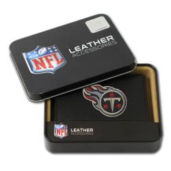Tennessee Titans Men's Black Leather Tri-fold Wallet - Thumbnail 0
