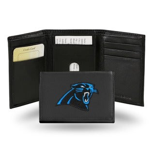 Carolina Panthers Men's Black Leather Tri-fold Wallet