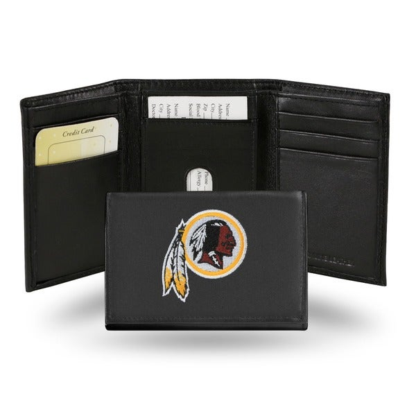 Washington Redskins Men's Black Leather Tri-fold Wallet