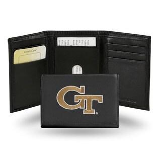 Georgia Tech Yellow Jackets Men's Black Leather Tri-fold Wallet