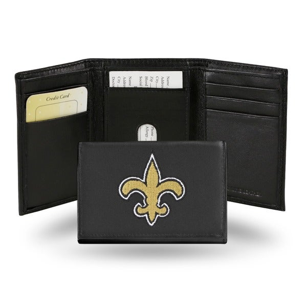 New Orleans Saints Men's Black Leather Tri-fold Wallet