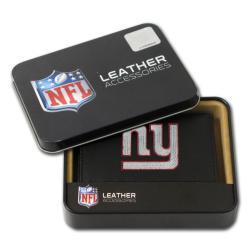 New York Giants Men's Black Leather Tri-fold Wallet