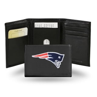 New England Patriots Men's Black Leather Tri-fold Wallet