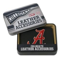 Alabama Crimson Tide Men's Black Leather Tri-fold Wallet