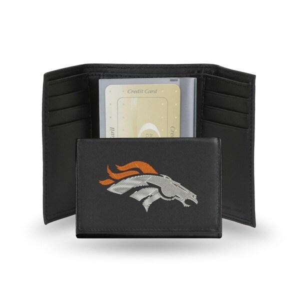 Denver Broncos Men's Black Leather Tri-fold Wallet