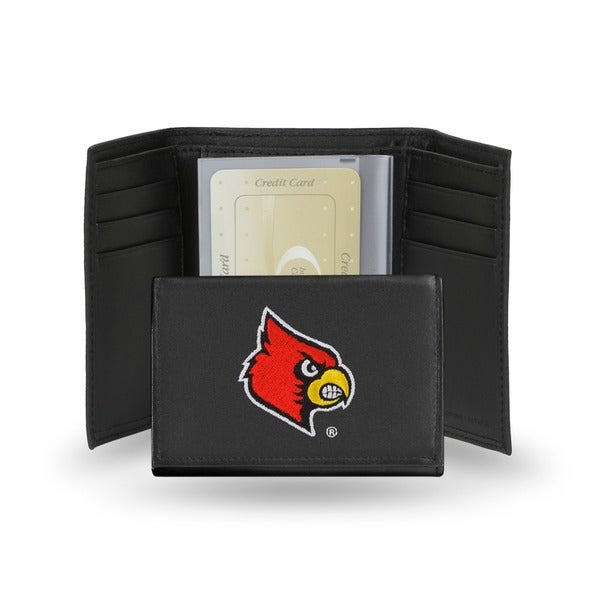 Louisville Cardinals Men's Black Leather Tri-fold Wallet