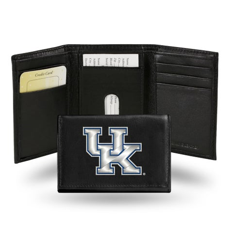 Kentucky Wildcats Men's Black Leather Tri-fold Wallet