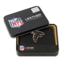 Atlanta Falcons Men's Black Leather Tri-fold Wallet