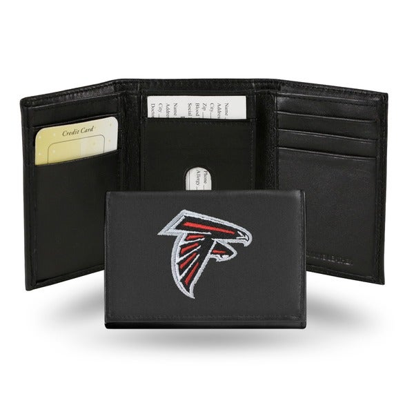 Atlanta Falcons Men's Black Leather Tri-fold Wallet
