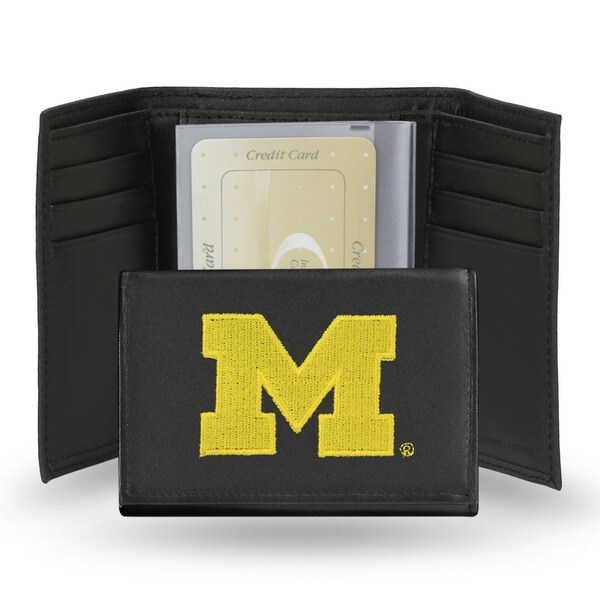 Michigan Wolverines Men's Black Leather Tri-fold Wallet