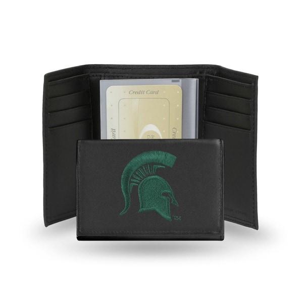 Michigan State Spartans Men's Black Leather Tri-fold Wallet