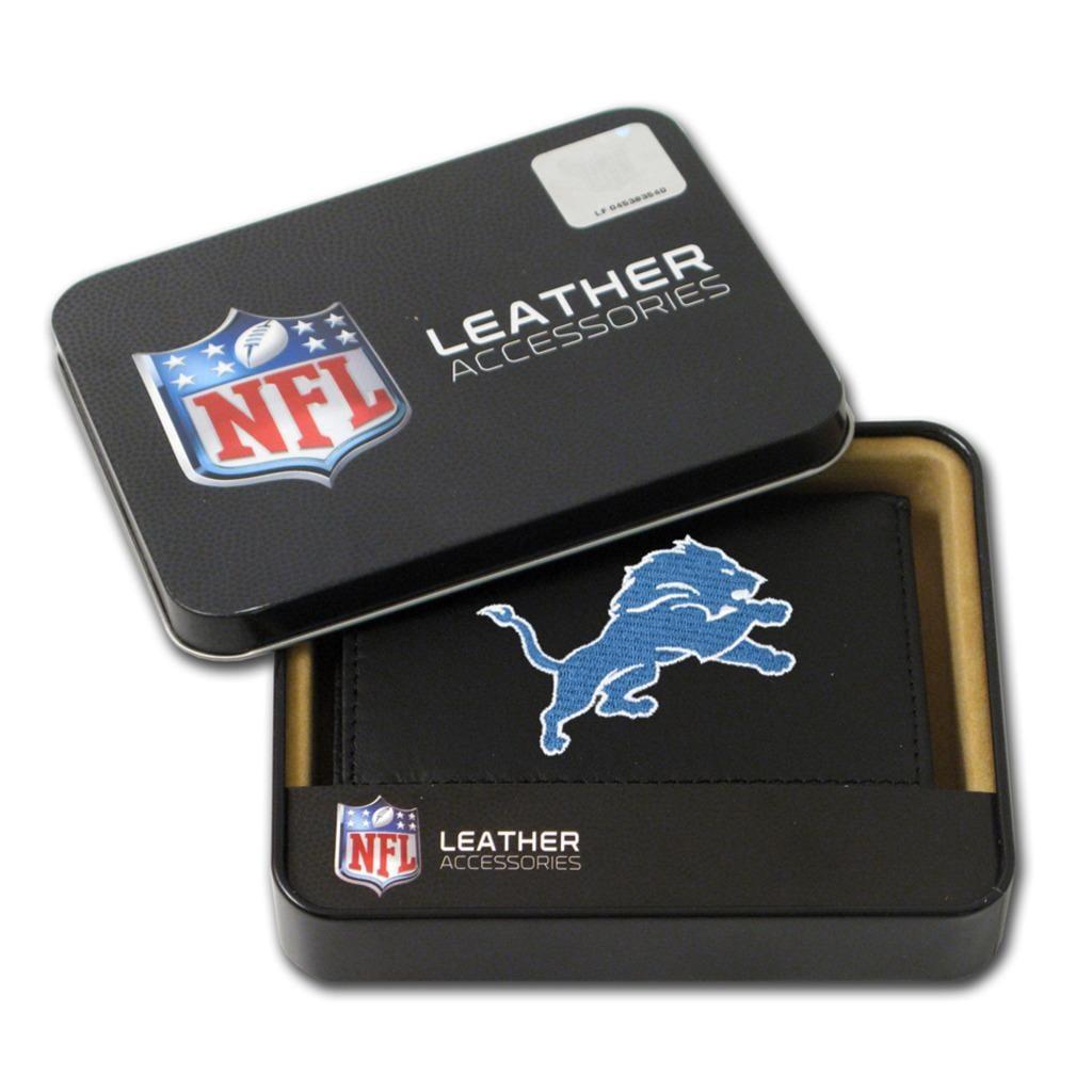 Detroit Lions Men's Black Leather Tri-fold Wallet