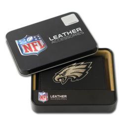 Philadelphia Eagles Men's Black Leather Tri-fold Wallet