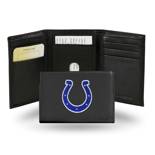 Indianapolis Colts Men's Black Leather Tri-fold Wallet