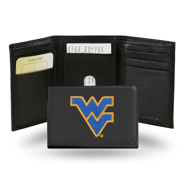 West Virginia Mountaineers Men's Black Leather Tri-fold Wallet