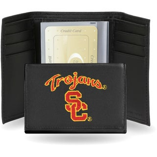 USC Trojans Men's Black Leather Tri-fold Wallet