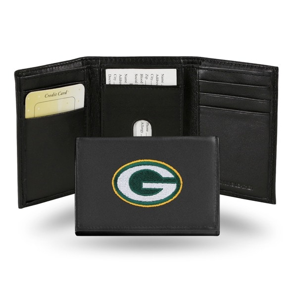 Green Bay Packers Men's Black Leather Tri-fold Wallet