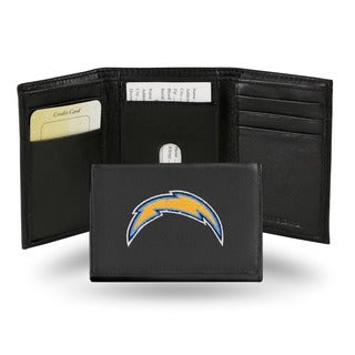 San Diego Chargers Men's Black Leather Tri-fold Wallet